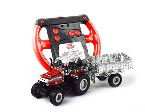 RC Traktor kaufen Traktor Bild 1: Tronico 09541 - Metallbaukasten Traktor Massey Ferguson MF-7600 mit Kippanhänger und Fernsteuerung, Maßstab 1:64, Micro Serie, rot, 427 Teile*