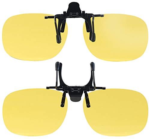 PEARL Nachtbrille: 2er-Set Nachtsicht-Brillenclips, rundliches Design, polarisiert, UV400 (Überzieh-Nachtsicht-Brillen)
