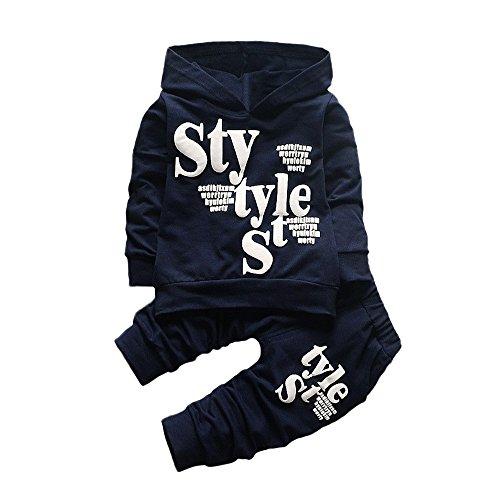 (Baby Junge Kleidung Outfit, Honestyi Kleinkind Baby Boy Style Brief Drucken Hood Tops Muster Hosen 2 STÜCKE Set Kleidung (Marine, 110/XL))