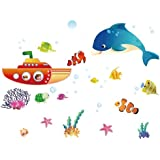 Vinilo instyledecal woooowltd del mundo submarino ballena estrellas habitación infantil del arte de la pared etiqueta de papel