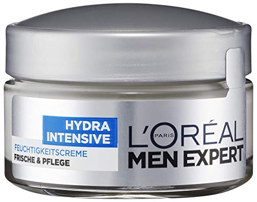 L'Oréal Men Expert Hydra Intensive Feuchtigkeitscreme, Gesichtspflege für sensible Männerhaut zieht schnell und ohne Rückstände ein ohne fetten (50 ml)