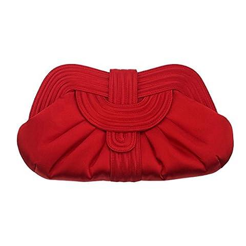 Einfach Stilvoll Kleid Kollokations Clutch Personalisiert Rot Abendessen-Beutel,Red-28*16*4cm