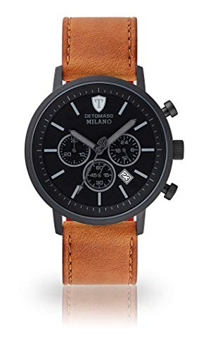 DETOMASO Milano XL Herren-Armbanduhr Chronograph Analog Quarz schwarzes Zifferblatt (Leder - Braun)