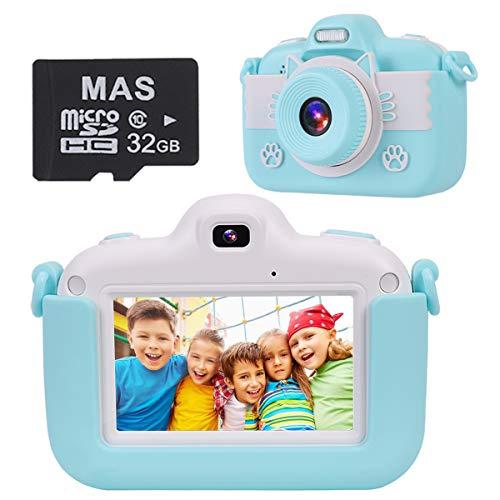 slopehill Kinder Digitalkamera, 1080P HD IPS Touch Screen Kinderkamera, 8MP Selfie Mini Smart Kiddy Zoom Kamera, 3 Inch Farbdisplay Video Spiel Multifunktion Fotoapparat mit 32 GB USB Rechargeable