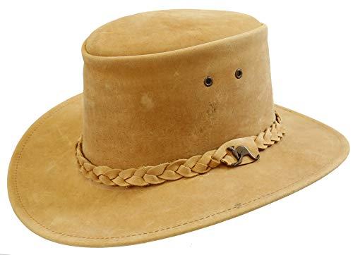 Kakadu Traders Australia Kinder Leder-Hut Cowboy Hut in Rostbraun | geflochtenes Hutband mit...