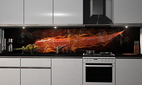 Küchenrückwand Folie selbstklebend | Heißer Chili | Klebefolie in verschiedenen Größen | Fliesenspiegel | Dekofolie | Spritzschutz | Küche | Möbel-Folie