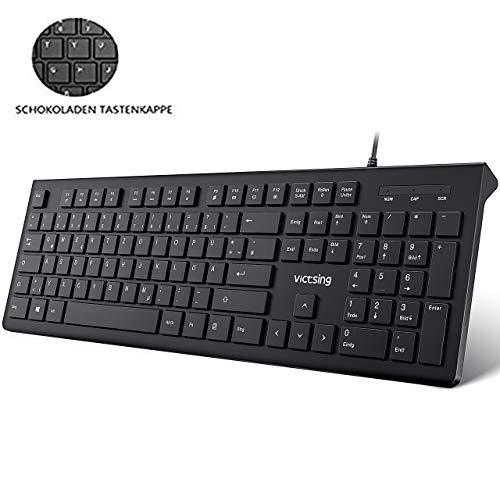 VicTsing Tastatur USB, 105 Tasten Chiclet PC