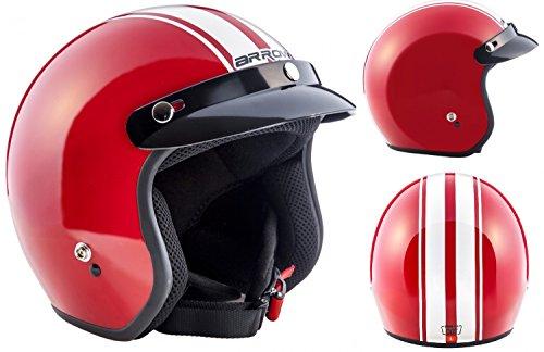 ARROW HELMETS AV-47 Red Pilot Vespa-Helm Jet-Helm Scooter-Helm Helmet Chopper Biker Mofa Retro Vintage Bobber Cruiser Motorrad-Helm Roller-Helm, DOT zertifiziert, inkl. Stofftragetasche, Rot, L (59-60cm)