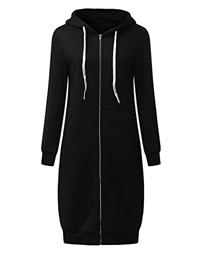 Eshal Damen Frauen Beiläufige Lange Hülse Volle Zip Up Fleece Hoodies Jumper Warme Strickjacke Jacke Top Sweatshirt Oberbekleidung Langer Mantel (Small, Schwarz) Hoodie Jacke Mantel