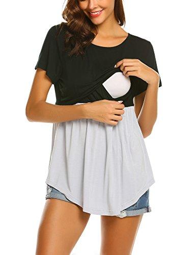 MAXMODA Donna Maglia per LAllattamento Shirt Maglia Premaman Maglieria per maternità Casual Top T Shirt Manica Corta Nero S