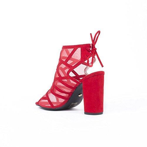Ideal Shoes Sandales Mesh Effet Daim et Talon Carré Maelis Rouge