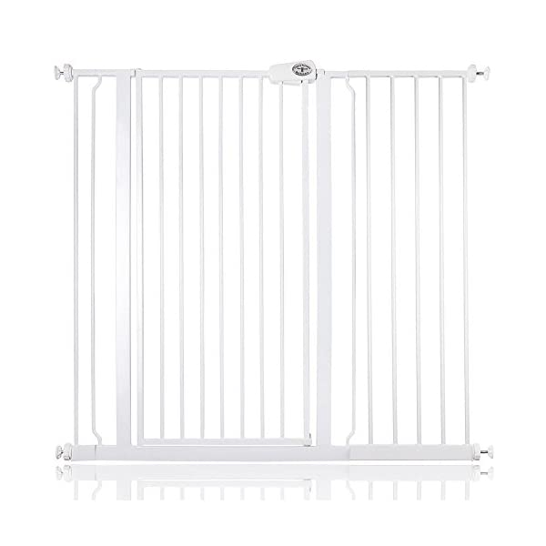 Bettacare Child and Pet Gate Pressure Fit Stair and Pet Gate 75cm - 147.5cm (113.8cm - 121.4cm, White) Bettacare Pressure Fitted White Metal Gate Double Locking Mechanism 1