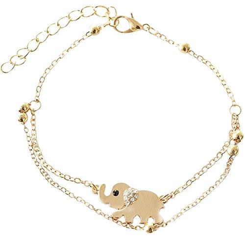 Kanggest Fußkettchen Damen Fußkettchen Gold,Elefant Kette Fußkette mit Anhänger Sommer Strand FußSchmuck für Frauen Mädchen