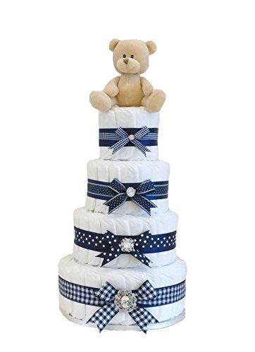 Signature quatre étages Bleu marine garçon à couches gâteau/panier de bébé Cadeau de Baby Shower/New arrivée Cadeau/cadeau de naissance/nouveau-né Panier/cadeau de grossesse/envoi rapide