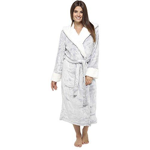 CityComfort Luxury Dressing Gonna da donna Super Soft Robe con cappuccio foderato di pelliccia Accappatoio peluche per donna-regalo perfetto grey
