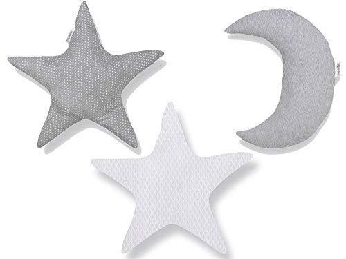 Pirulos Luna Set de 3 Cojines con Relleno Decorativos para la Habitación del bebé, Color Blanco y Gris