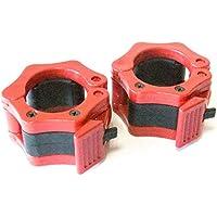 1 Coppia di 2 inch/50mm Quick Release Olimpico Lock-mascella Dimensioni Bilanciere morsetto collare Bar ABS Rosso - Manopole Modellata