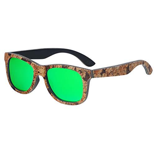 Zbertx Unisex-Sonnenbrille Korkrahmen aus Holz Polarisierte Sonnenbrille Uv-Schutz,Grün