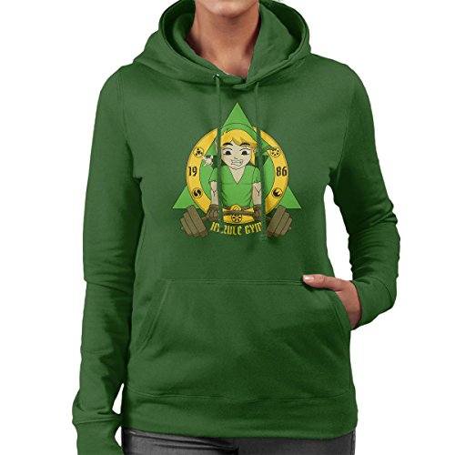 Legend Of Zelda Link Hyrule Gym Women's Hooded Sweatshirt Bottle Green