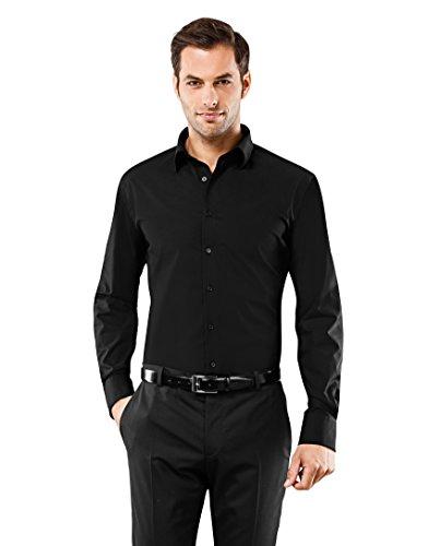 Farbe Krawatte Schwarzes Hemd (Vincenzo Boretti Herren-Hemd Bügelfrei 100% Baumwolle Slim-Fit Tailliert Uni-Farben - Männer Lang-Arm Hemden für Anzug mit Krawatte Business Hochzeit Freizeit Schwarz 43/44)