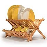 Iashion Tischplatten-Geschirrtrockner Bambus-Zusammenklappbarer Abtropfgestell, Faltbarer Tellertrocknergestell Holzplatte Geschirr Lagerregal