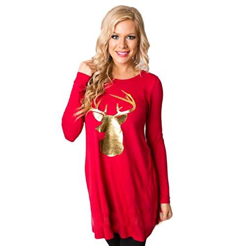 (Weihnachten Kleidung Dasongff Damen Mode Kleid Rundhals Weihnachten Elch Langarm lässige Kleidung Langarmshirt Pullover Bluse Oberteil Weihnachtskleidung Tunika (Rot, L))