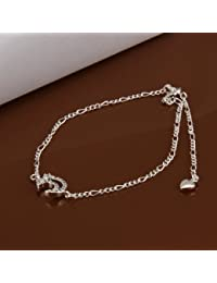 Hannea Chic Moon Shape Solid Color Hollow Out Anklet For Women