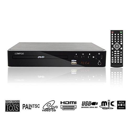 LONPOO USB 2.0 Externes DVD CD Rom Laufwerk Multimedia Digital DVD-Player 720p Region frei ( USB, MP3,HDMI,CD Ripping)- Full Function Remote & LED Display -schwarz