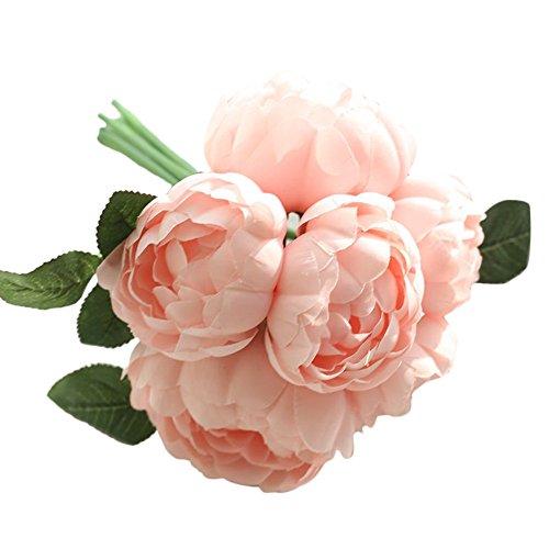 Andouy 1 bouquet 6 teste di peonia artificiale fiore di seta foglia casa decorazione della festa nuziale