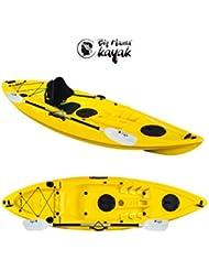 Ainoa Fishing Big Mama Kayak – Canoa de 295 cm + 2 compartimentos + 4 portabastones + remos de 220 cm.