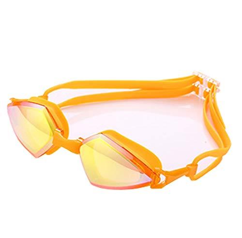 FuweiEncore Hochauflösende Schwimmen-Schutzbrillen-Männer und Frauen-Persönlichkeits-Rahmen-Schwimmen (Farbe : Orange, Größe : -)
