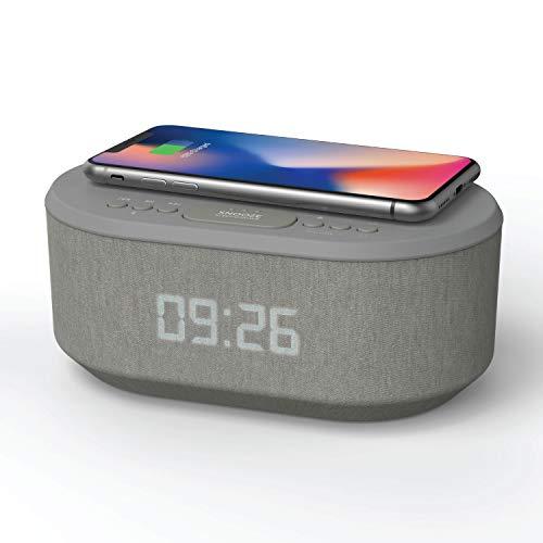 Radio Despertador con Carga Inalambrica, Puerto de carca USB, FM Radio, Bluetooth y Pantalla LED Gris...