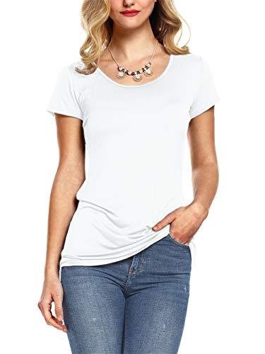 AMORETU Damen T-Shirt Kurzarmshirt Freizeit Oberteile Frauen Tops Ladies Sommer Tee Weiss M (Braune T-shirts)