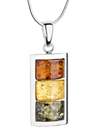 InCollections Damen-Halskette 925 Sterling Silber 3 Bernsteine mehrfarbig 45 cm