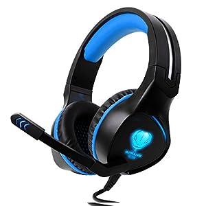 BlueFire Over-Ear-Kopfhörer, 3,5 mm, PC LED Licht, Gaming Bass, Stereo, Kopfbügel mit Mikrofon für Laptop Computer, Lautstärkeregler Red in Black