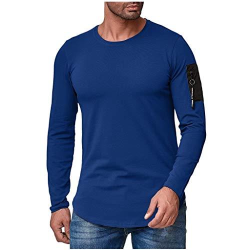 Luckycat Herren Longsleeve Langarmshirt Shirt Mit Rundhalskragen Slim Fit Oversize Herren Rundhals Longsleeve Basic Langarm T-Shirt -