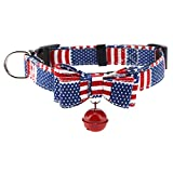 Hundehalsband mit Fliege Bell Pet Cat Halsbandriemen für kleine Hunde(L-Blaue Flagge)