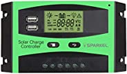 Sparkel 12V/24V 30A Auto USB Charge Controller Solar Panel Display PWM Regulator and with Ambient Temperature