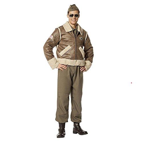 Kostümplanet® Bomber-Jacke Deluxe für Herren Kostüm Piloten-Kostüm Militär Pilot Jet-Pilot Größe 56