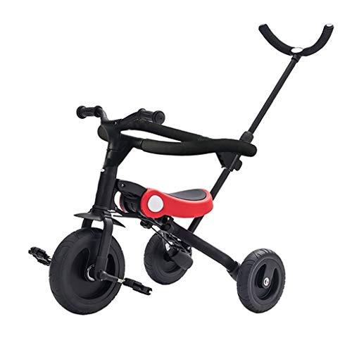 YETC - Passeggino Pieghevole Multifunzionale per Bambini, a Forma di Triciclo Rosso