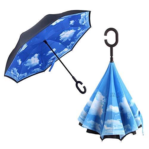 LiféUP Paraguas Doble invertido Paraguas Plegable invertido Paraguas a Prueba de Viento UV Paraguas para Coche Al Aire Libre en Forma de C Paraguas