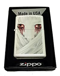 Zippo Custom Lighter - Girl with Blood Dripping from Red Eyes - Regular White Matte