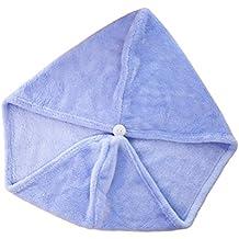 BESTOMZ Toalla para Secar el Pelo Turbante de Secado para Mujer Absorbente Azul