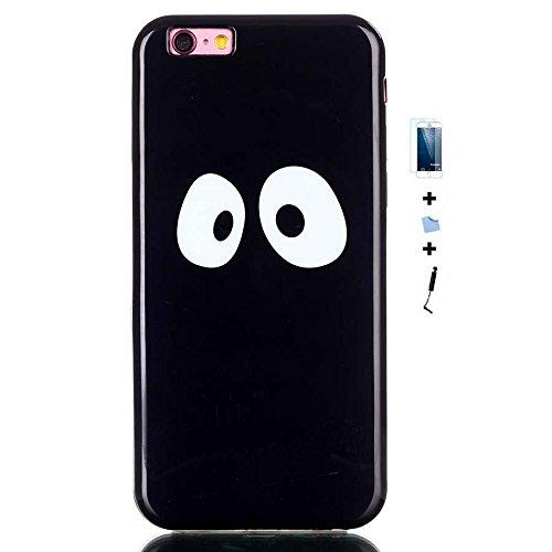 TIODIO® 4 en 1 Pour Apple iPhone 6S Plus/iPhone 6 Plus, TPU Silicone Shell Housse Coque Étui Case Cover, Stylus et Film protecteur inclus, Brille dans le noir, B30 B08