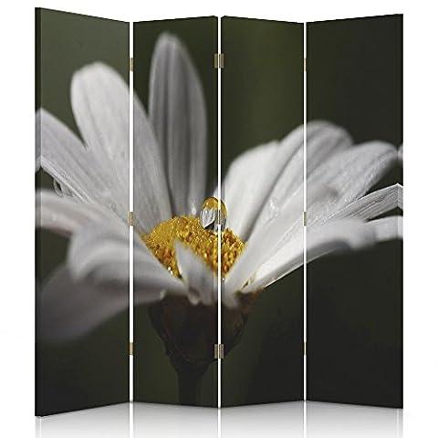 Feeby Frames. Raumteiler, Ggedruckten aufCanvas, Leinwand Wandschirme, dekorative Trennwand, Paravent beidseitig, 4 teilig (145x180 cm), BLUME, OCHSENAUGE-GÄNSEBLÜMCHEN, MAKRO, WEISS, (Architektur Blumen)