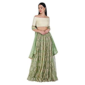 Amaira Off Shoulder Olive Embroidered Blouse and Organzalehenga Set
