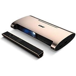 Mini proyector JMGO M6, el mejor proyector portátil con 200 lúmenes ANSI (1000 lúmenes), proyectores DLP Smart Pico con sistema Android, soporte 1080P / 4K y video 3D, 5400mAh incorporado Power Bank