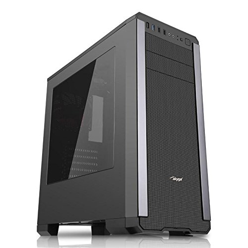 "'akyga aky012bk Gamer PC della gomma Midi Tower""ATX Nero"