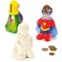 Star Hero Ceramic Coin Banks with Removable Stopper for Children to Paint and Decorate (Pack of 2)