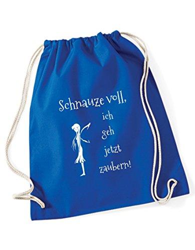 Turnbeutel Schnauze voll ich GEH jetzt Zaubern Bedruckt/Rucksack/Sportbeutel/Gymsack/Gymbag mit witzigen Sprüchen von 3 Elfen - hellblau